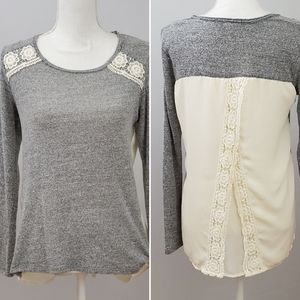 Jolt Gray Shirt with Sheer Lace Back